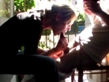 Quickie Oral Sex on the Porch Wife Blows Husband