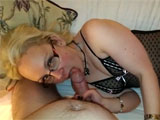 Horny Blonde with Glasses Gives Steady Oral Sex