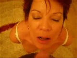 Sexy Redhead Mature on Her Knees Oral and Jizz on Face