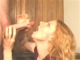 Cute Blonde Lady Receives Sticky Facial Cumshot
