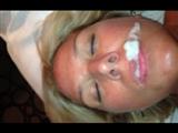 Hot Blonde MILF Eating Cum after Ejaculation in Mouth