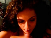 Beautiful Girlfriend with Curly Hair Receives Facial Jizz
