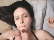 Hot Brunette Girl Enjoys Jizz on Her Face