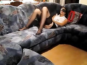 Blindfolded Wife on the Couch Given the Cock to Suck