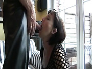 Hot Mommy Fucked in the Mouth and Eating Cum
