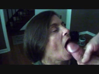 Mature amateur blowjob and cum swallow