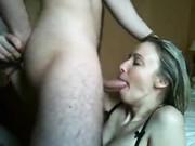Sweet blonde blowjob rough fucked in the mouth